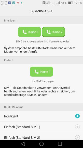 Dual-SIM-Smartphone Anrufkonfiguration