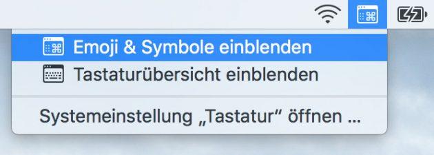 Emojis auf dem Mac Emojis in Menueleiste