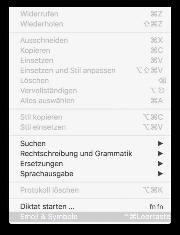 Emojis auf dem Mac Emojis unter Bearbeiten aufrufen