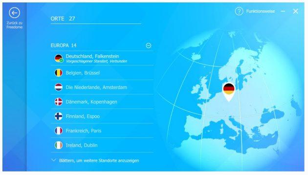 Insgesamt bietet Freedome VPN 26 Standorte in verschiedenen Ländern an.