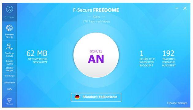 Freedome VPN von F-Secure ermöglicht mit einem Klick das sicherere Surfen im Netz.