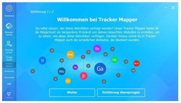 Neu in Freedome VPN von F-Secure ist der Tracking Mapper
