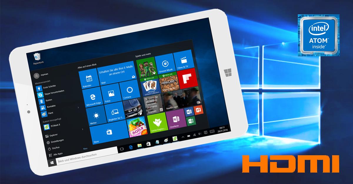 windows 10 tablet mit 8 zoll im test. Black Bedroom Furniture Sets. Home Design Ideas