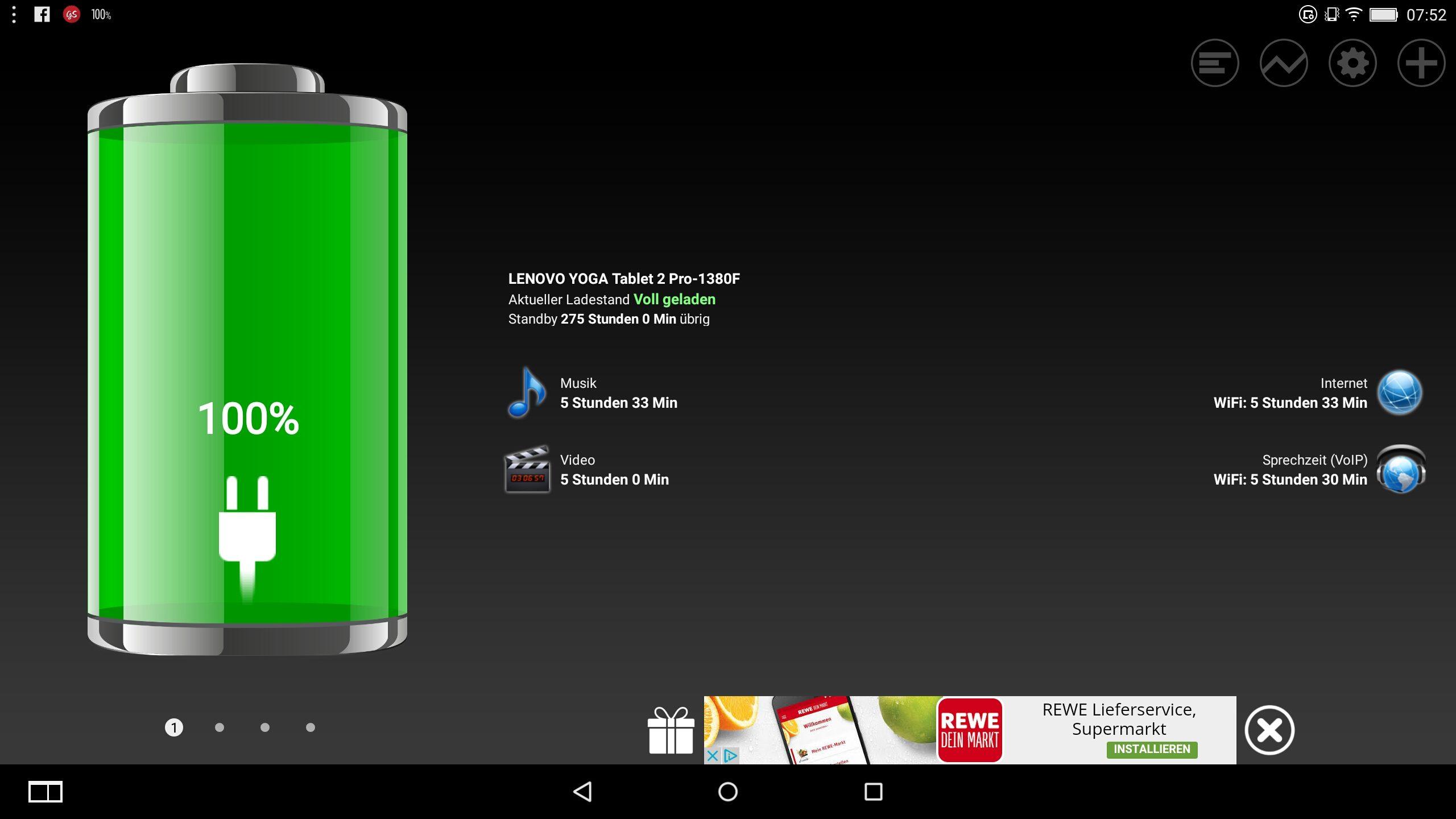 Lenovo Yoga 2 Pro-1380F – Angaben zur Laufzeit (hochgerechnet)