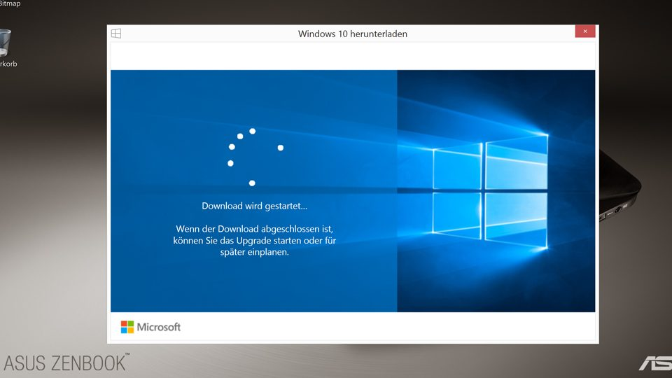 Download für Windows 10 wird gestartet