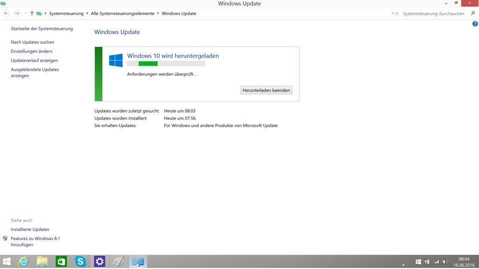 Update für Windows 10: Anforderungen werden geprüft