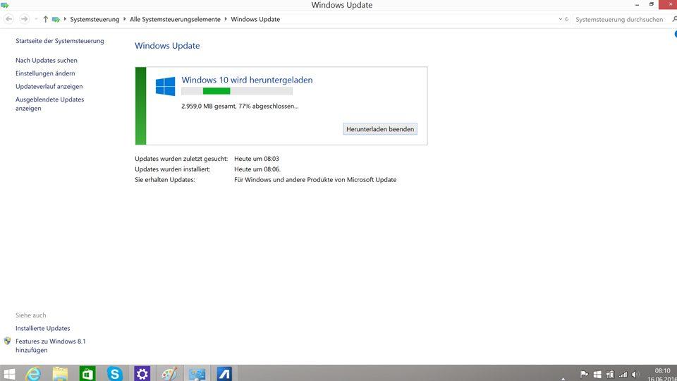 Fürs Update auf Windows 10 werden rund 3 GB Daten heruntergeladen