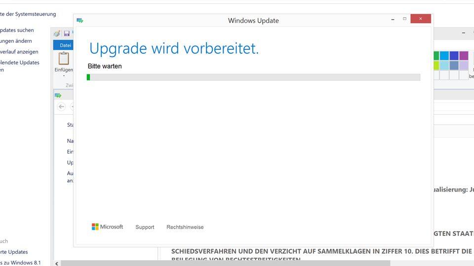 Upgrade auf Windows 10 wird vorbereitet