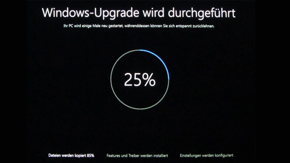 Upgrade auf Windows 10 läuft (25%)