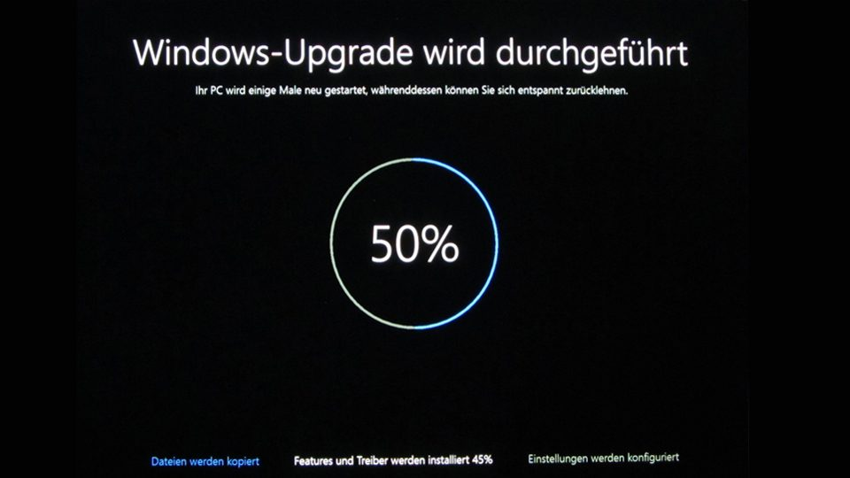 Upgrade auf Windows 10 läuft (50%)
