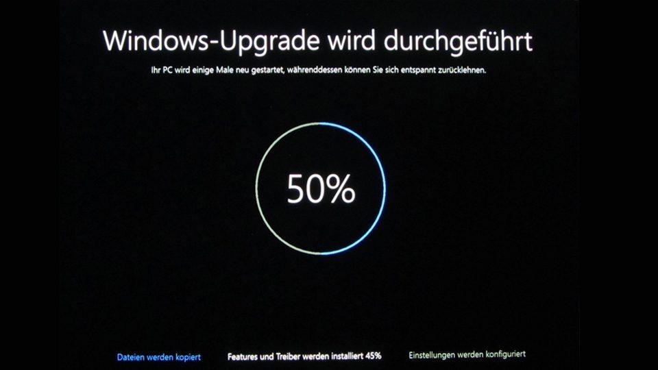 Upgrade auf Windows 10 läuft (50%)