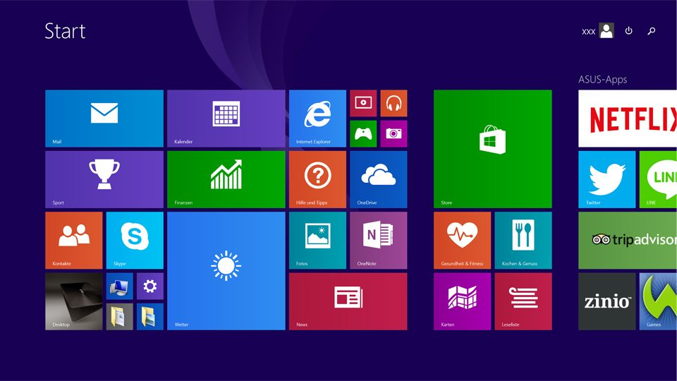 Windows 8.1 Kacheloberfläche