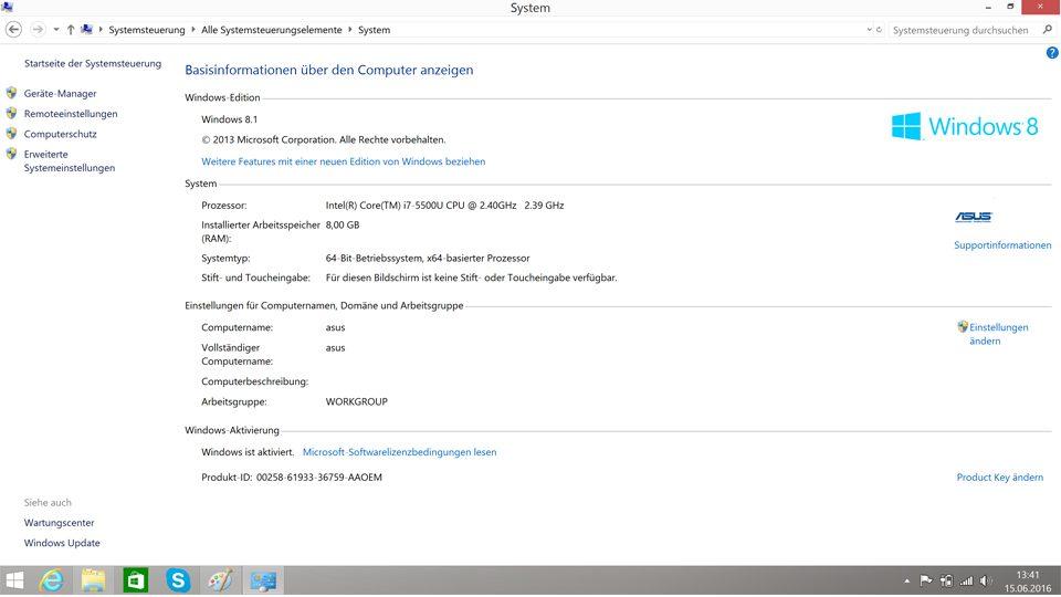 Windows 8.1 Systeminformationen