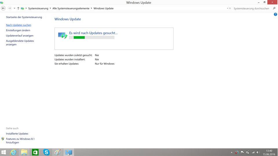 Es wird nach Updates für Windows 8.1 gesucht
