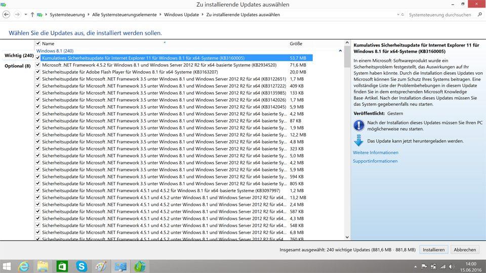 Updates von Windows 8.1 auswählen