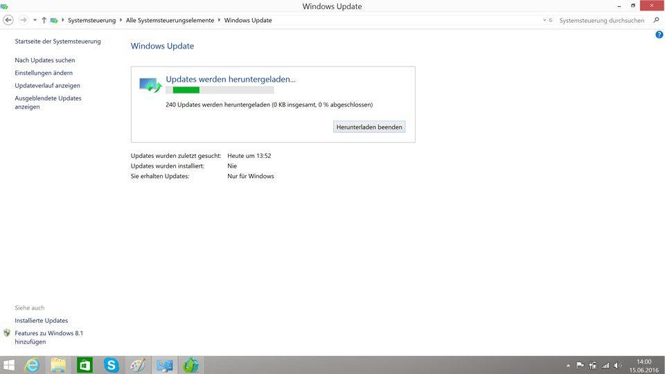 Updates von Windows 8.1 werdeb heruntergeladen