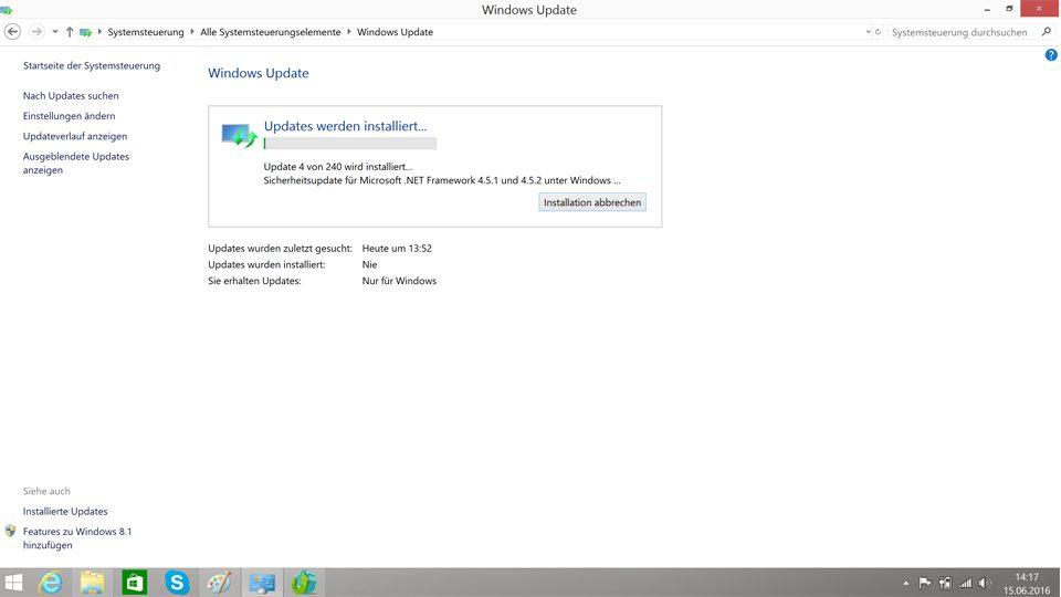 Updates von Windows 8.1 werden installiert