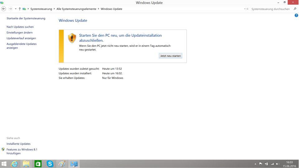 Nach dem Neustart werden die Updates von Windows 8.1 installiert