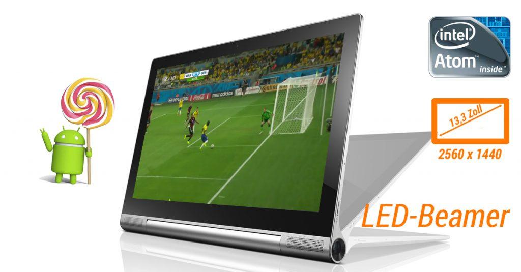 Perfekt für die EM2016: Lenovo Yoga Tablet 2 Pro – 13,3″-Display mit QHD-Auflösung & LED-Beamer