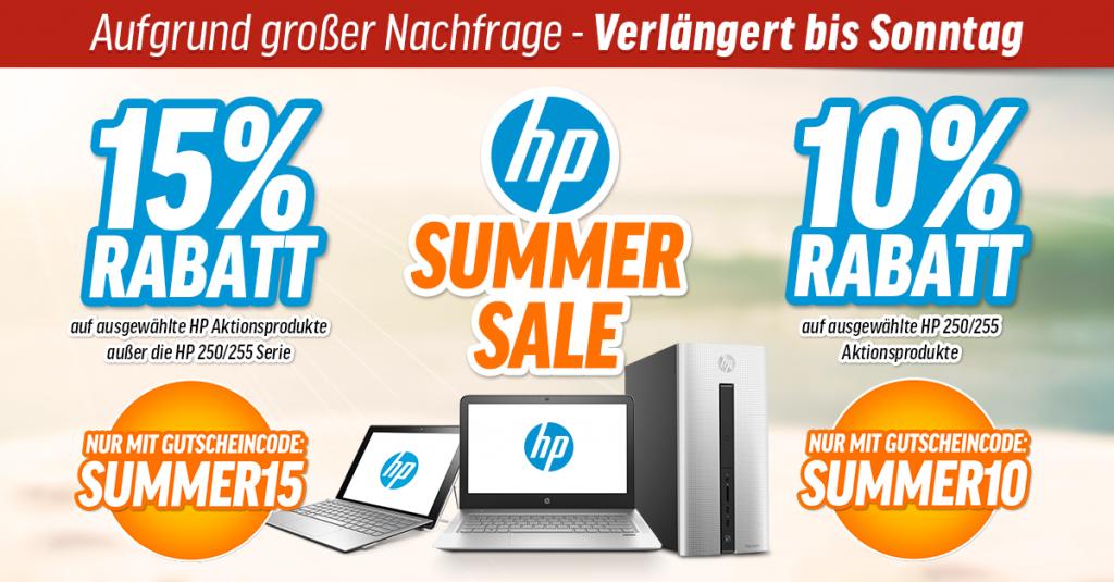 Summer Sales – Bis zu 15 % Rabatt auf ausgewählte HP-Notebooks, PCs und Tablets