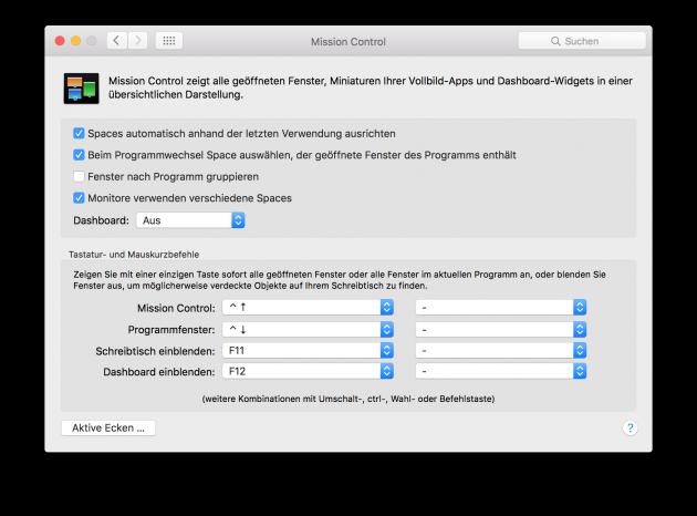 OS X geteilte Darstellung Option aktivieren