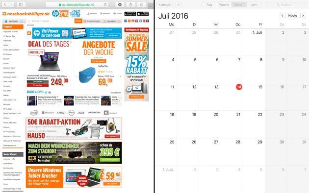 OS X geteilte Darstellung zwei Apps nebeneinander