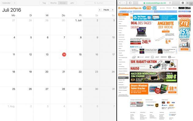 OS X geteilte Darstellung zwei Apps nebeneinander verschieben oder vergroessern