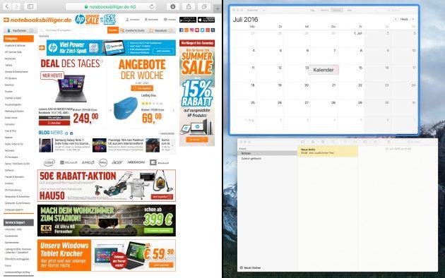 OS X geteilte Darstellung zweite App auswählen