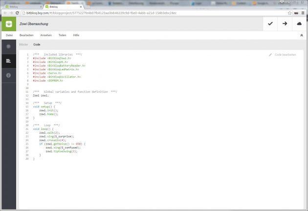 Zowi Bitbloq Code programmieren