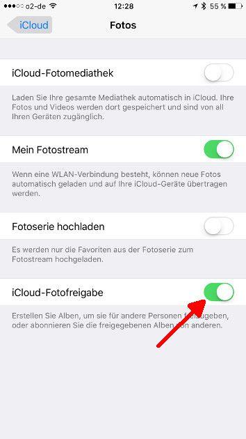 Apple Fotofreigabe 02 iCloud-Fotofreigabe aktivieren