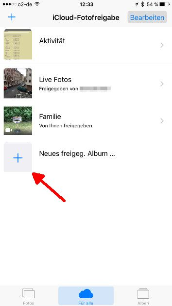 Apple Fotofreigabe 04 Neues freigegebenes Alum anlegen