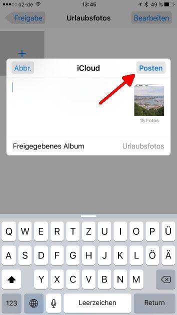 Apple Fotofreigabe 10 Freigegebenes Album posten