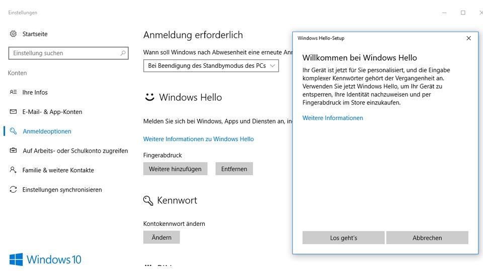Windows Hello einrichten