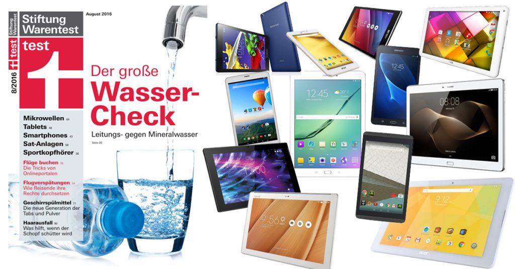 Stiftung Warentest 08/2016: 14 Android-Tablets mit bis zu 10,1-Zoll im Vergleichstest