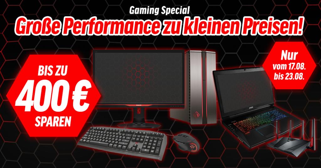 Gaming Special: Auf ausgewählte Notebooks, PCs und Zubehör bis zu 400 € sparen