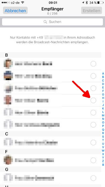 WhatsApp Broadcast-Liste 03 Adressaten auswaehlen