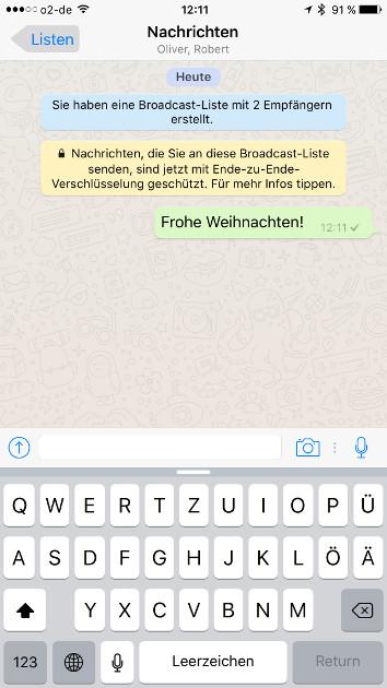 WhatsApp Broadcast-Liste Ansicht