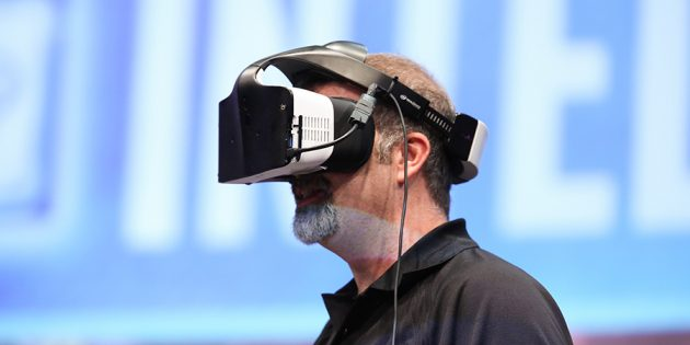 Intel's Craig Raymond displays the Project Alloy virtual reali