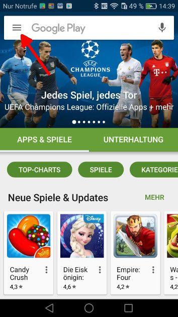Android Automatische App-Updates Schritt 1