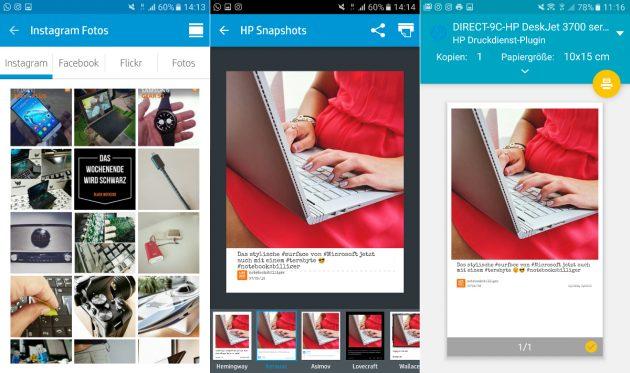 Die Benutzeroberfläche der App HP Social Media Snapshots