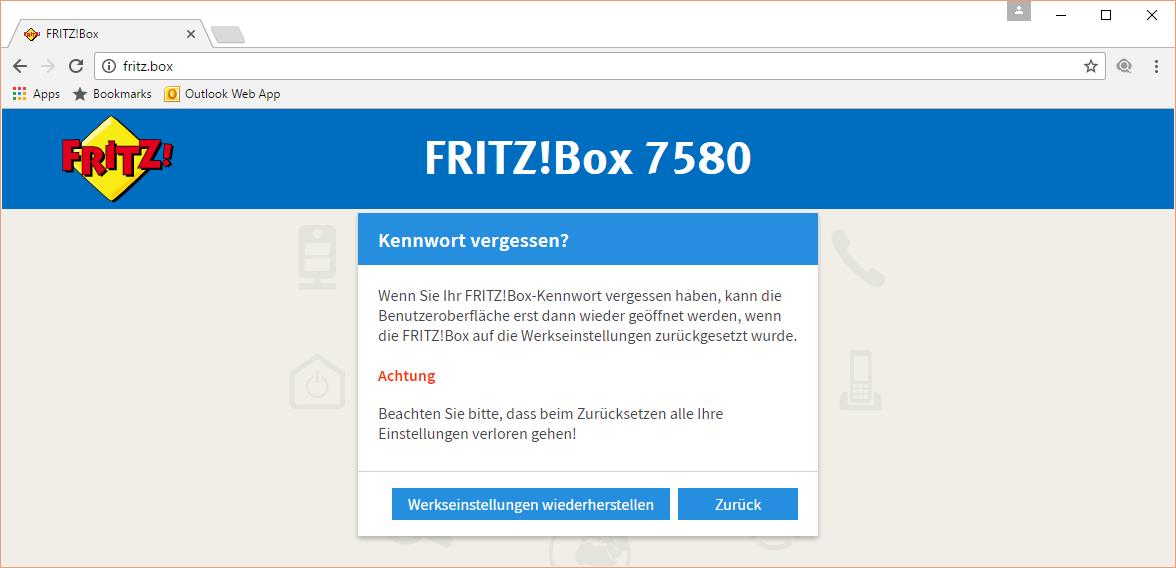 Fritz!Box Reset