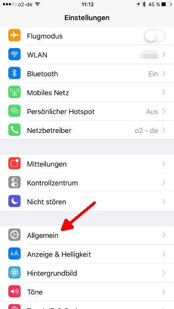 iOS Autokorrektur Allgemein aufrufen