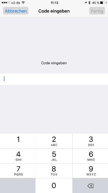 iOS Autokorrektur Code eingeben