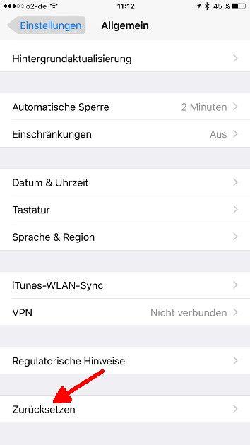 iOS Autokorrektur Zuruecksetzen aufrufen