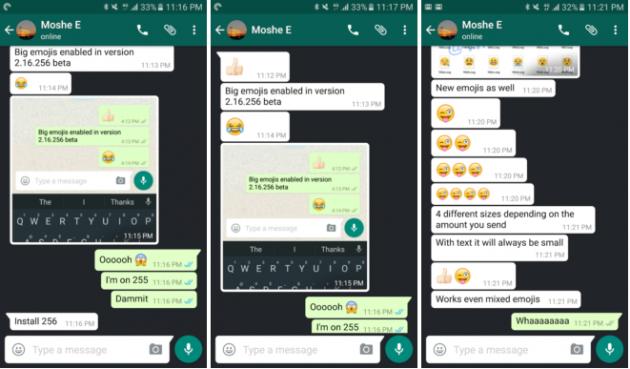 Einzelne Emojis werden in WhatsApp künftig größer dargestellt
