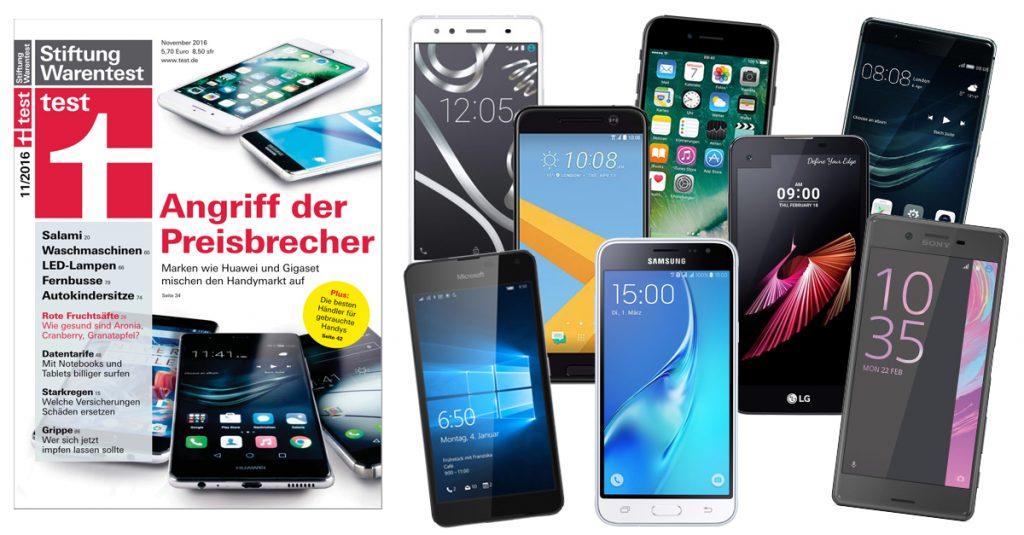 Stiftung Warentest 11/2016: 20 Smartphones mit Display ab 4,7-Zoll im Vergleichstest