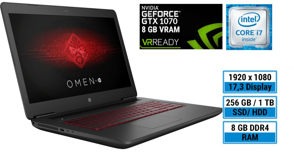 OMEN by HP – Gaming-Notebook mit schneller Geforce 1070 Grafik und 17,3-Zoll-Display