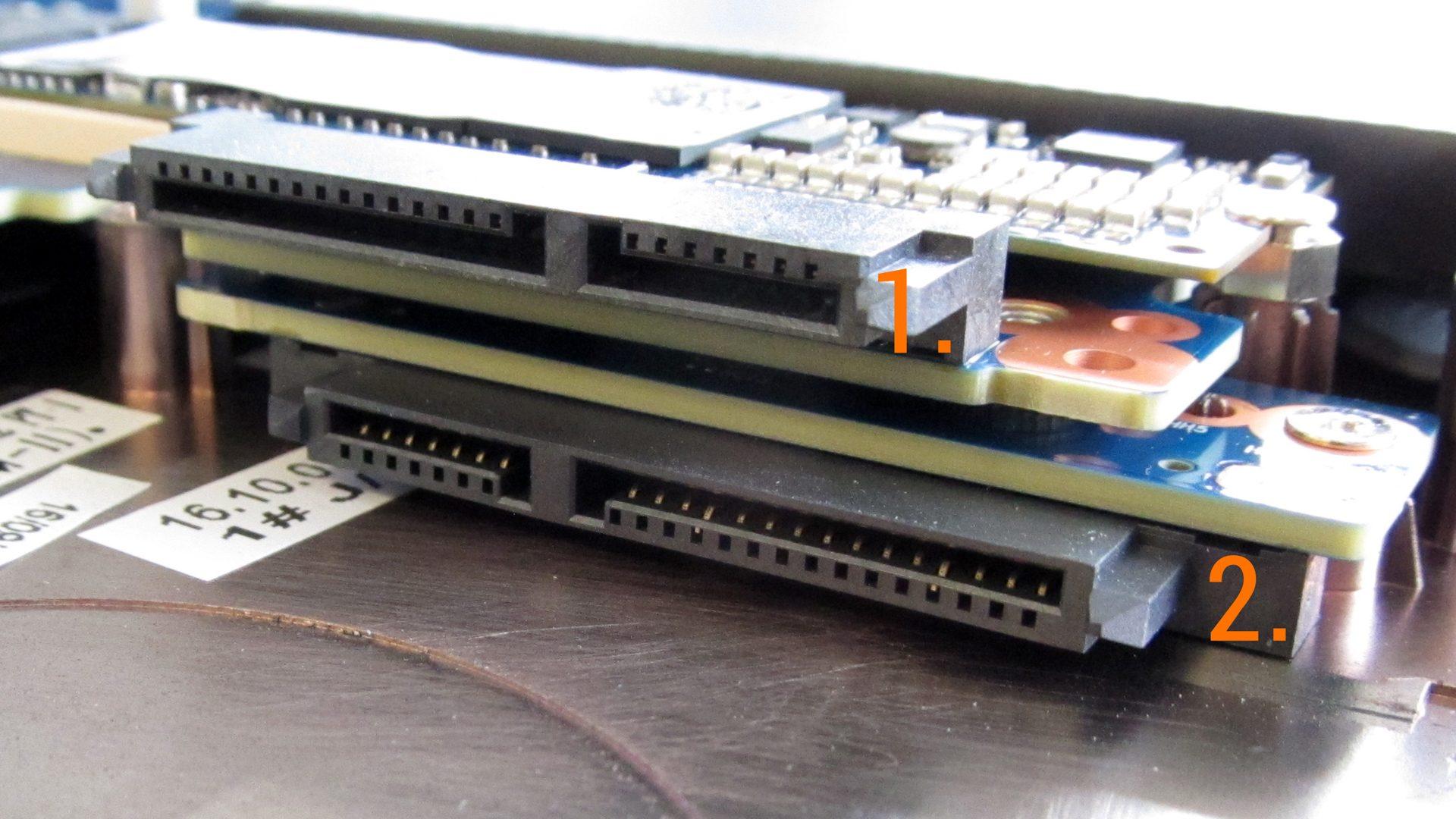 Zwei SATA-Schnittstellen für HDD und / oder SSD