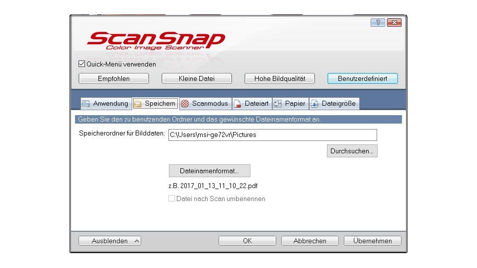 Fujitsu ScanSnap iX500 Einstellungen_2