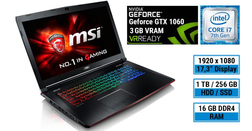MSI GE72VR-7RF Gaming Notebook mit neuester Intel CPU und schneller Nvidia Grafik